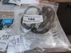 2X Various items being, USB-C 3 pack 30cm,1m,2m - Untested.