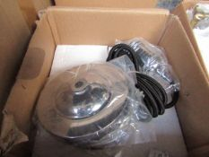 Pendent Light fitting Chrome & Includes Bulb - Untested and boxed.