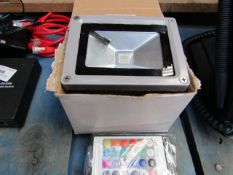 Mini Outdoor Flood Light, with Controller to Change Colour - Boxed.