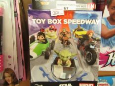 2x Disney Infinity toy box speedway, both new and boxed.