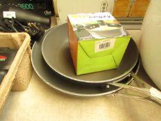 2x Joe Wicks - Frying Pan's (Small & Medium) - Includes Stir Crazy - Used Condition.