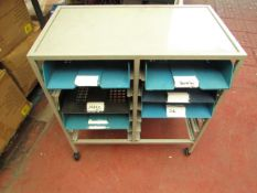 Metal unit on wheels with 6 pull out trays. Has been used but is stillperfectly usable