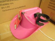 12 x Pink party Hats with Drinks Holders & Straws. Perfect for Hen Parties. New & Boxed