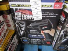 | 1x | AIR HAWK MAX CORDLESS COMPRESSOR | UNCHECKED AND BOXED | NO ONLINE RE-SALE | SKU