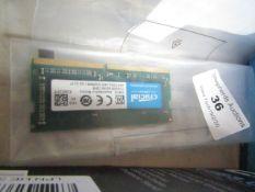 Crucial 4GB DDR, untested.