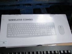 Wireless combo mouse and keyboard, untested and boxed.