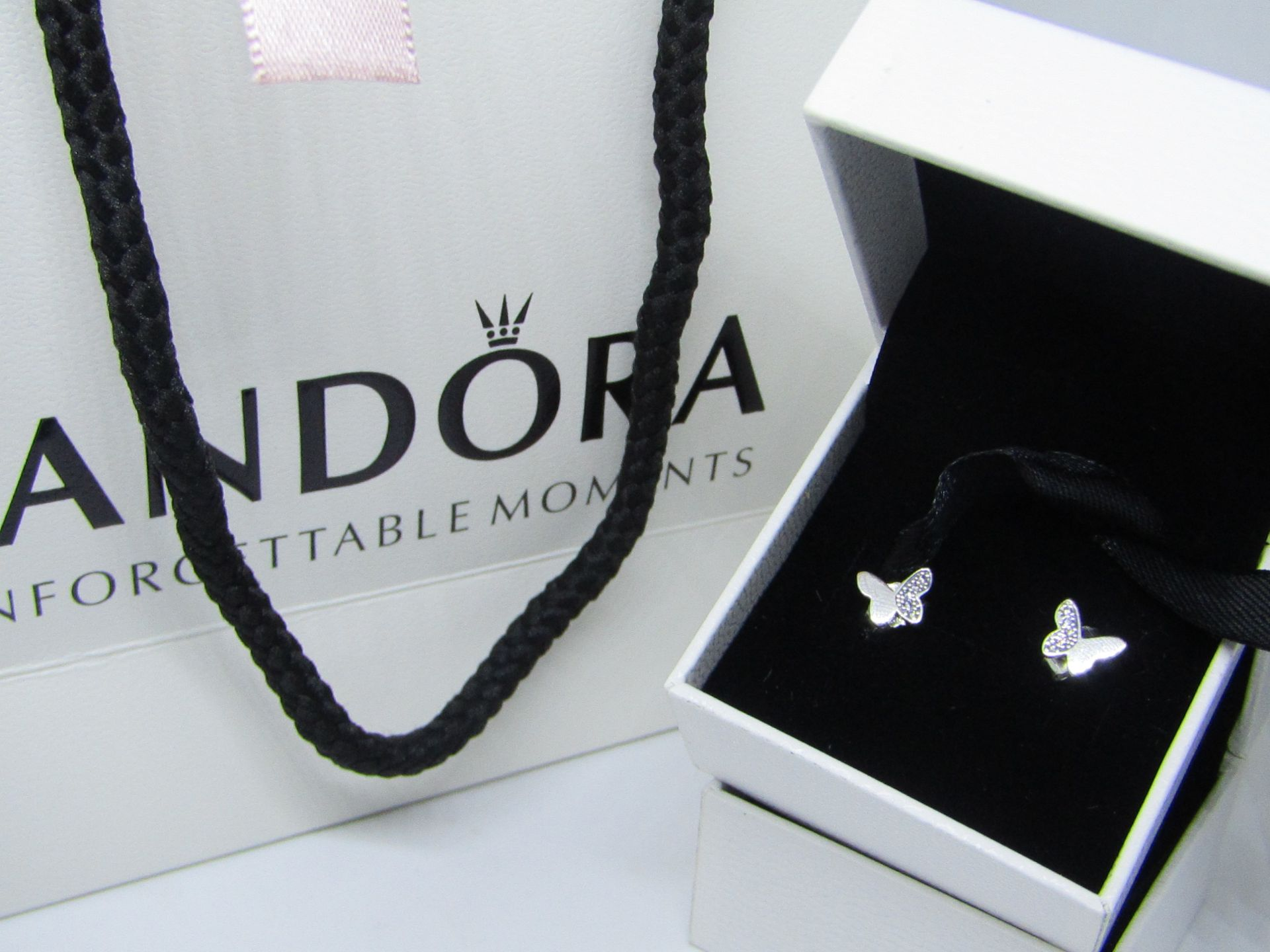 Lot 42 - Pandora 925 Silver & Crystal Butterfly Earrings in Presentation box & Pandora Gift Bag (ideal