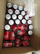 Approx 20x 330ml Coca Cola Zero cans. BB 30.06/2020 with 23x Tropical juice drinks. BB 08/2020