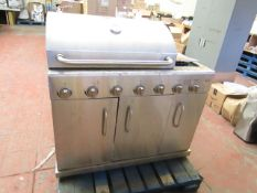 Stainless steel 7 burner BBQ with rotisserie and side burner, untested and used condition.