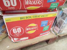 Box of approx 60x 25g variety crisp box. BB 03/2020