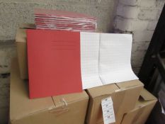 100x Red coloured exercise books, new and boxed.