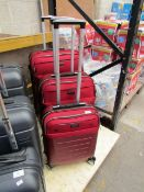 Set of 3x Rock suitcases, has marker pen on it and handle on large suitcase needs attention.