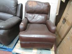 Rocking Swivel manual reclining Arm chair, tested working but has a discoloured patch on the head