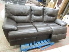 3 Seater brown electric reclining sofa, tested working