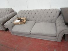 2 Seater Button back Sofa, with wooden feet, no major damage