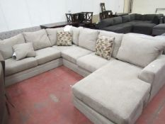 Fabric L Shaped sofa with Chaise built on, no feet.