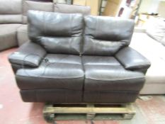 2 Seater Brown Leather Electric reclining sofa, tested working