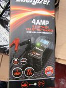 Energizer 4 amp 9 step smart car battery charger, boxed and unchecked