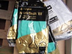 Pack of 12x Polyco Nitri tech 3 Green Nitrile flocked lined synthetic rubber gloves, new