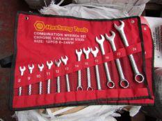Heshang Tools 12 Piece chrome vanadium steel combination spanner set, new in carry roll.