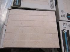 12x Packs of 10 Wickes 360x275 Crema Marfil Satin Scored wall tiles, new. Each pack is RRP £16.99