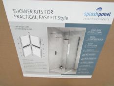 Splash Panel 2 sided shower wall kit in Artic Sparkle gloss, new and boxed, the kit contains 2