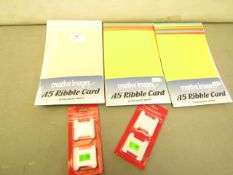 5 x items being 3 x packs of Creative Images A5 Ribble Card 10 assorted Sheets, 2 x packs of