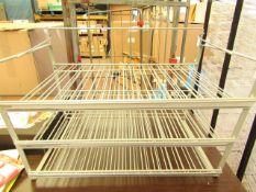 Table Top Grey Metal Storage Rack 63cm x 50cm x 40 cm