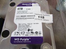 WesternDigital 4TB Hard Drive (Surveillance) - Untested.