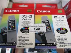 2x CANON - BCI-21 COLOUR - Ink Cartridge - Boxed.