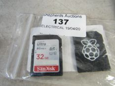 2x Various SD Cards being : Raspberry PI - 8GB SD Card & SanDisk - 32GB SD Card - Packaged.