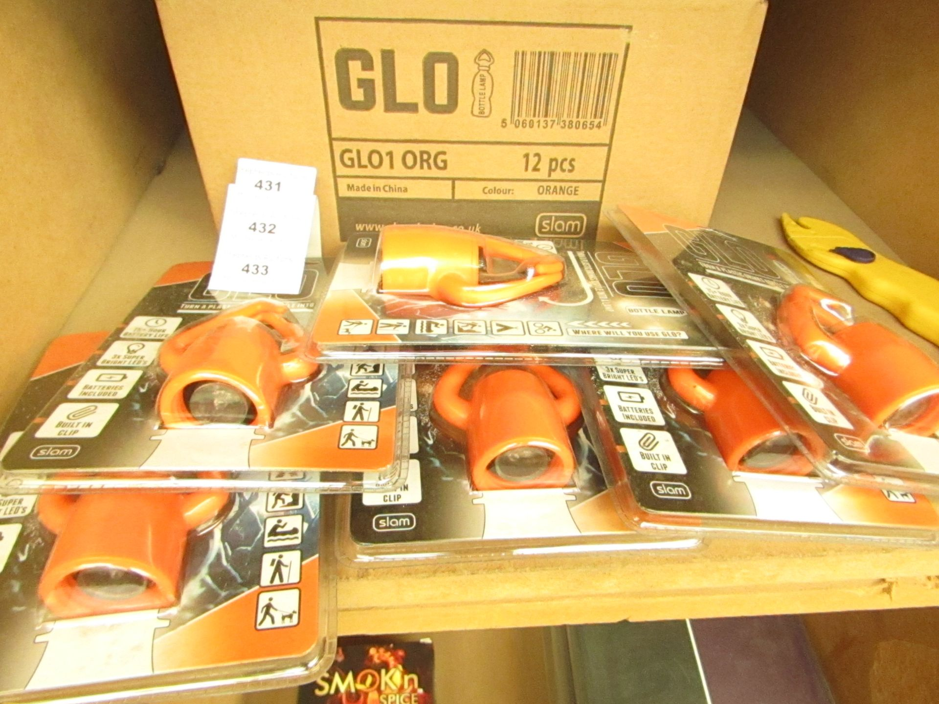 Lot 432 - Box of 12 x Glo - Bottle Lamps(Orange) - RRP £12 each on Amazon All Packaged & Boxed.