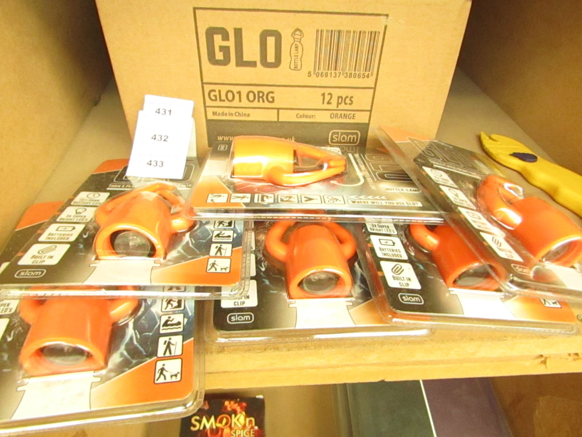 Lot 433 - Box of 12 x Glo - Bottle Lamps(Orange) - RRP £12 each on Amazon All Packaged & Boxed.