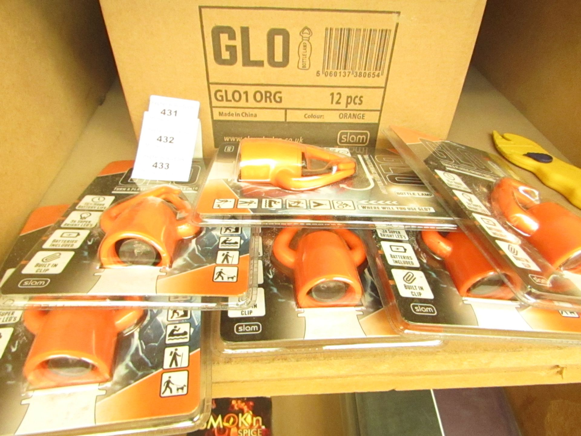 Los 431 - Box of 12 x Glo - Bottle Lamps(Orange) - RRP £12 each on Amazon All Packaged & Boxed.