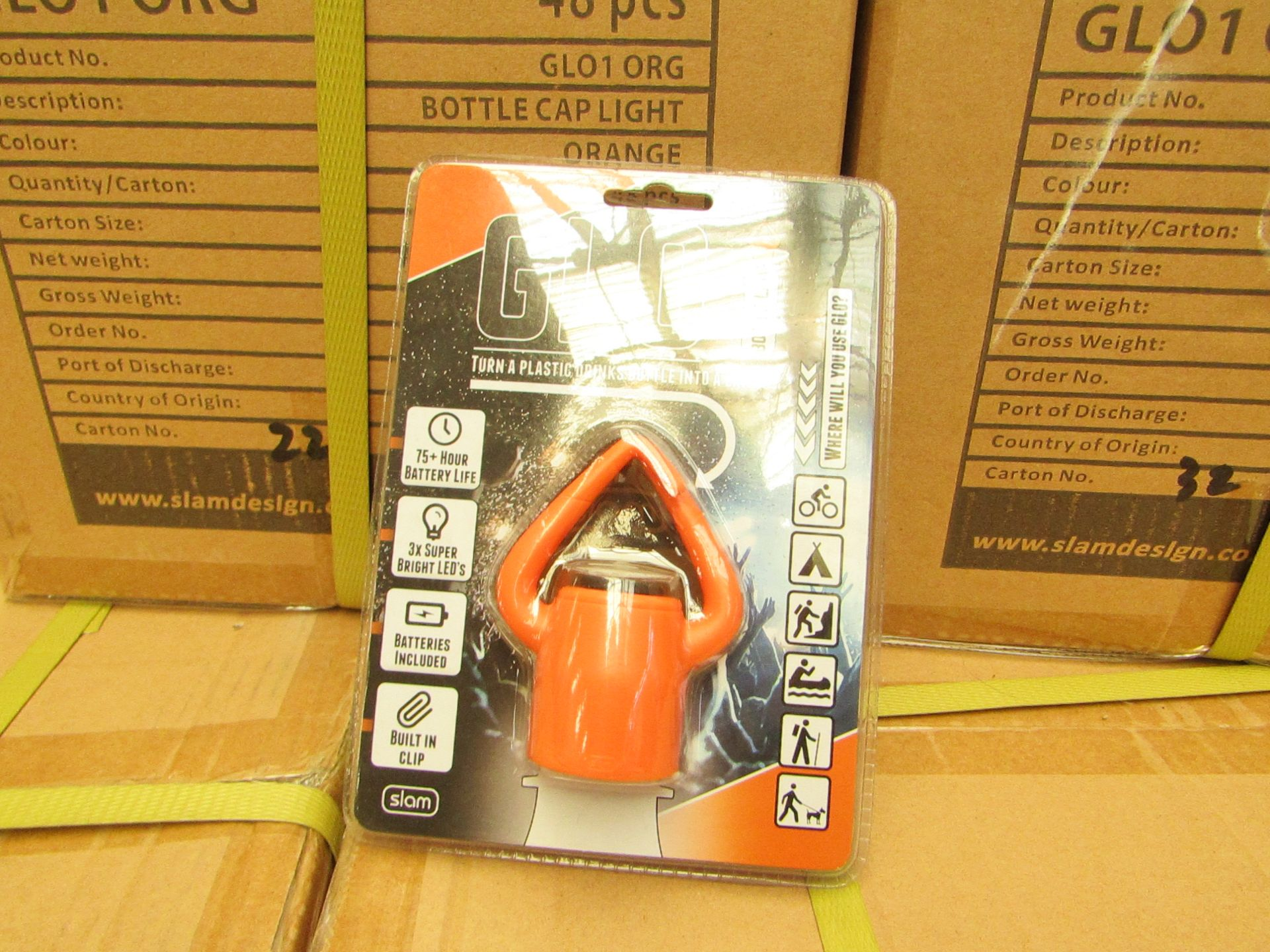 Los 14 - Box Of 48x GLO - Bottle Lamps - All Packaged & Boxed.