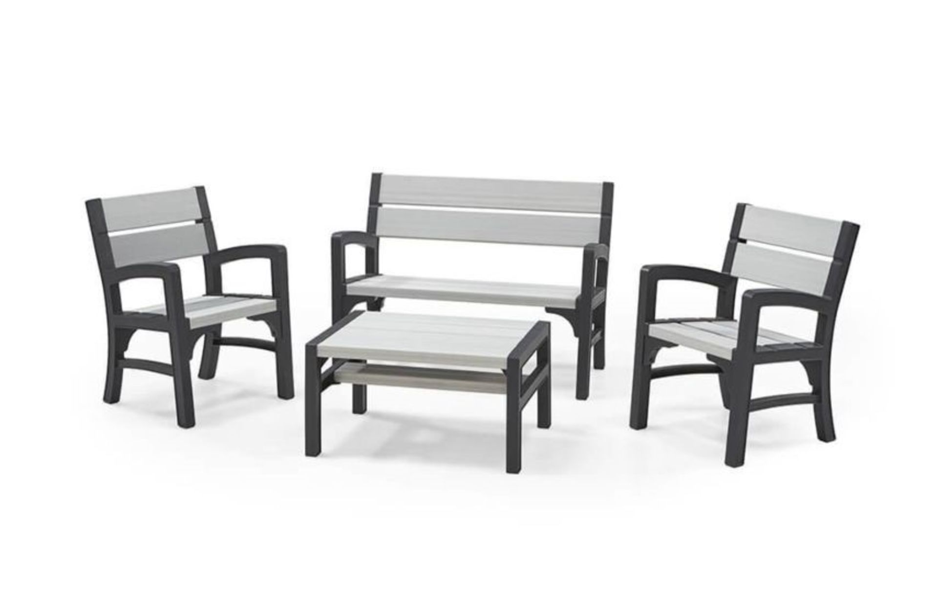 Lot 3 - Keter Rustic style 4 piece Lounge set, new and boxed, RRP £399.99