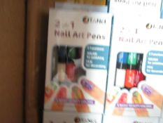 5 x tanel 2 in 1 Nail Art Pens with 6 Colours. New & packaged