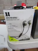 JayBird X4 wireless sport earphones, waterproof and sweat proof, untested and boxed. RRP £99.00