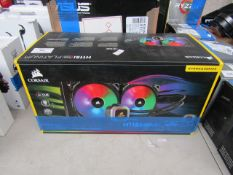 Corsair H115i RGB platinum extreme performance 280mm RGB liquid CPU cooler, unchecked and boxed. RRP