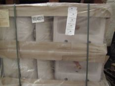 Pallet of approx 18 Lecico Senner 2 tap hole 54cm basins, new