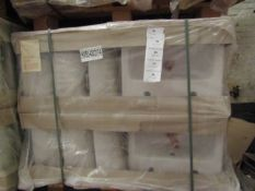 Pallet of approx 28 Lecico Senner 2 tap hole 43cm basins, new