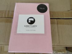Box of 24 X Pair of Sanctuary Plain Housewife Pillowcases Blush 48 X 76 X 18cm Flap 100 % Cotton,new
