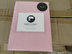 1 X Pair of Sanctuary Plain Housewife Pillowcases Blush 48 X 76 + 18cm Flap 100 % Cotton,new &
