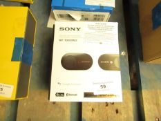 Sony Wf-1000xm3 Wireless Noise Cancelling Earbuds, tested working on audio, mic untested. Missing