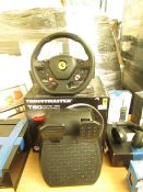 Thrustmaster T80 racing wheel and pedals, untested and boxed. RRP œ98.98