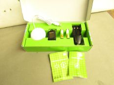 4x 5 Piece energy saving kit with rechargeable batteries, new and boxed.