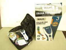 Wahl Colour Pro Cordless Clippers. Comes with Grades & Carry case. Look New & tested Working