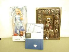 3 Items Being a Frozen Doll, Collins Notebook & a Wll Plaque. All unused