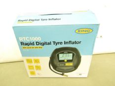 Ring RTC 1000 Rapid Digital Tyre Inflator. Looks Unused & Comes in a Carry case