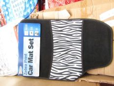 Set of 4 Zebra print effect universal car mats, new